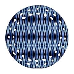 Blue White Diamond Pattern  Ornament (round Filigree)  by Costasonlineshop