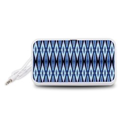 Blue White Diamond Pattern  Portable Speaker (white)  by Costasonlineshop
