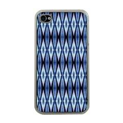 Blue White Diamond Pattern  Apple Iphone 4 Case (clear)