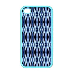 Blue White Diamond Pattern  Apple Iphone 4 Case (color) by Costasonlineshop