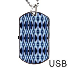 Blue White Diamond Pattern  Dog Tag Usb Flash (two Sides)