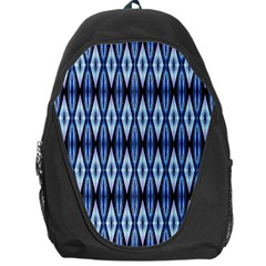Blue White Diamond Pattern  Backpack Bag by Costasonlineshop