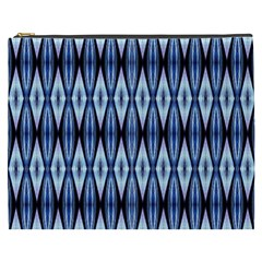 Blue White Diamond Pattern  Cosmetic Bag (xxxl)  by Costasonlineshop