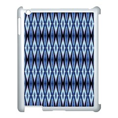 Blue White Diamond Pattern  Apple Ipad 3/4 Case (white) by Costasonlineshop