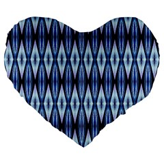 Blue White Diamond Pattern  Large 19  Premium Heart Shape Cushions
