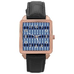 Blue White Diamond Pattern  Rose Gold Leather Watch  by Costasonlineshop