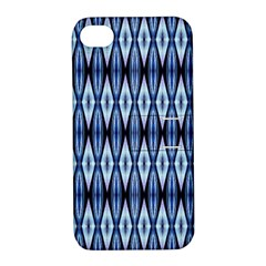 Blue White Diamond Pattern  Apple Iphone 4/4s Hardshell Case With Stand by Costasonlineshop