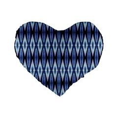 Blue White Diamond Pattern  Standard 16  Premium Flano Heart Shape Cushions by Costasonlineshop
