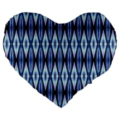 Blue White Diamond Pattern  Large 19  Premium Flano Heart Shape Cushions by Costasonlineshop