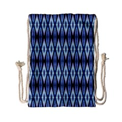 Blue White Diamond Pattern  Drawstring Bag (small) by Costasonlineshop