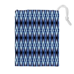 Blue White Diamond Pattern  Drawstring Pouches (extra Large) by Costasonlineshop