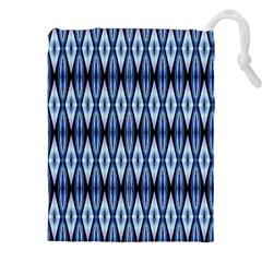 Blue White Diamond Pattern  Drawstring Pouches (xxl) by Costasonlineshop
