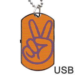 Comic Book Peace Dots Dog Tag Usb Flash (one Side) by ComicBookPOP