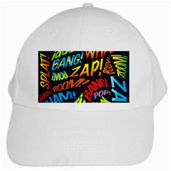 Comic Book Sounds White Cap by ComicBookPOP