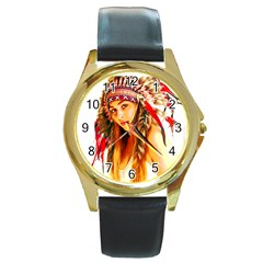 Indian 26 Round Gold Metal Watch by indianwarrior