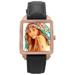 Indian 27 Rose Gold Leather Watch  by indianwarrior