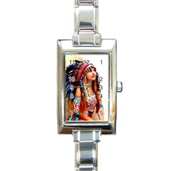 Indian 21 Rectangle Italian Charm Watch by indianwarrior