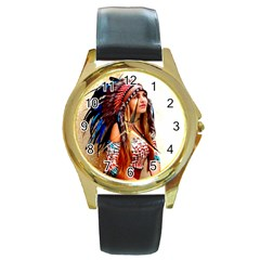 Indian 21 Round Gold Metal Watch by indianwarrior