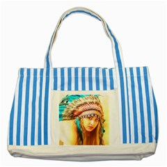 Indian 14 Striped Blue Tote Bag by indianwarrior