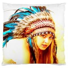 Indian 12 Large Flano Cushion Case (one Side) by indianwarrior