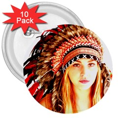 Indian 3 3  Buttons (10 Pack)  by indianwarrior