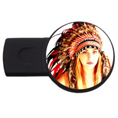 Indian 3 Usb Flash Drive Round (4 Gb)  by indianwarrior