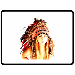 Indian 3 Double Sided Fleece Blanket (large)  by indianwarrior