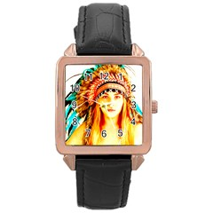 Indian 29 Rose Gold Leather Watch  by indianwarrior