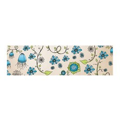 Whimsical Flowers Blue Satin Scarf (oblong) by Zandiepants
