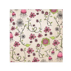 Pink Whimsical Flowers On Beige Small Satin Scarf (square) by Zandiepants