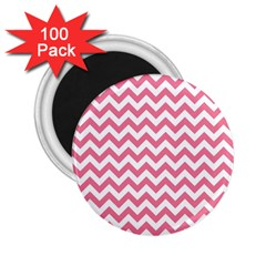 Pink And White Zigzag 2 25  Magnets (100 Pack)  by Zandiepants
