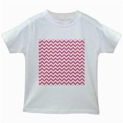 Pink And White Zigzag Kids White T Shirts by Zandiepants