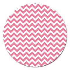 Pink And White Zigzag Magnet 5  (round) by Zandiepants