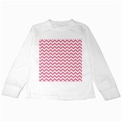 Pink And White Zigzag Kids Long Sleeve T Shirts by Zandiepants