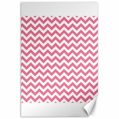 Pink And White Zigzag Canvas 24  X 36  by Zandiepants