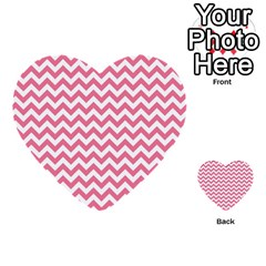 Pink And White Zigzag Multi Purpose Cards (heart)  by Zandiepants
