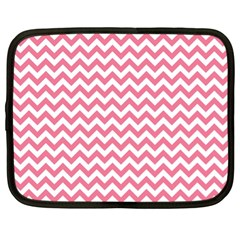 Pink And White Zigzag Netbook Case (xl)  by Zandiepants