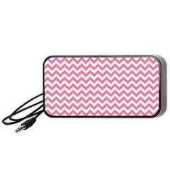 Pink And White Zigzag Portable Speaker (black)  by Zandiepants