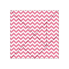 Pink And White Zigzag Acrylic Tangram Puzzle (4  X 4 ) by Zandiepants