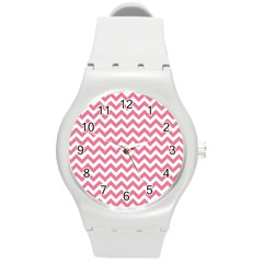 Pink And White Zigzag Round Plastic Sport Watch (m) by Zandiepants