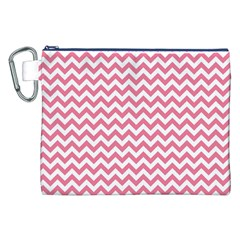 Pink And White Zigzag Canvas Cosmetic Bag (xxl)  by Zandiepants