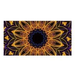 Yellow Purple Lotus Mandala Satin Shawl by Zandiepants