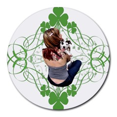 Pit Bull T Bone Lucky Puppy Round Mousepads by ButThePitBull