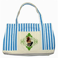 Pit Bull T Bone Lucky Puppy Striped Blue Tote Bag by ButThePitBull