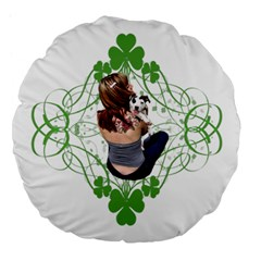Pit Bull T Bone Lucky Puppy Large 18  Premium Flano Round Cushions by ButThePitBull
