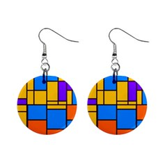 Retro Colors Rectangles And Squares 			1  Button Earrings