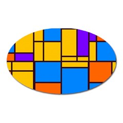 Retro Colors Rectangles And Squares 			magnet (oval) by LalyLauraFLM