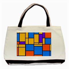 Retro Colors Rectangles And Squares 			basic Tote Bag by LalyLauraFLM