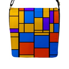 Retro Colors Rectangles And Squares 			flap Closure Messenger Bag (l) by LalyLauraFLM