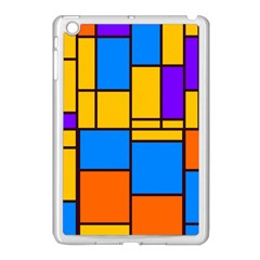 Retro Colors Rectangles And Squares apple Ipad Mini Case (white) by LalyLauraFLM